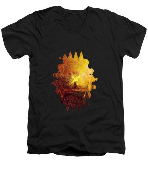 Ye Olde Mill Men's V-Neck T-Shirt by Valerie Anne Kelly