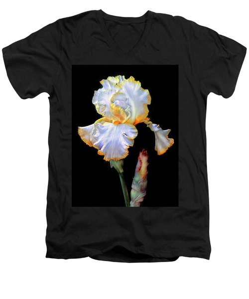 Yellow And White Iris Men's V-Neck T-Shirt