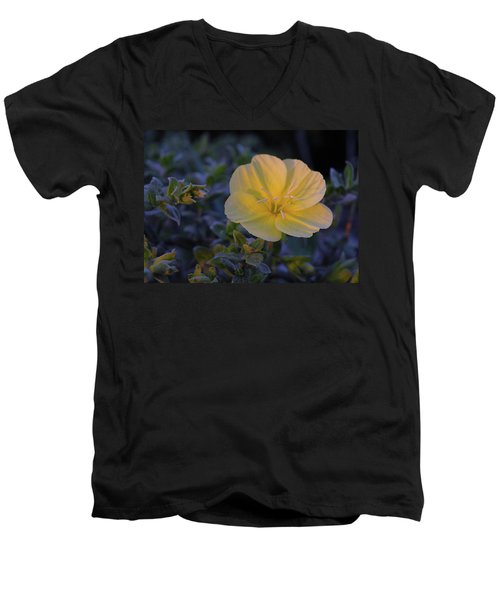 Men's V-Neck T-Shirt featuring the photograph Yellow Beach Evening Primrose by Marie Hicks
