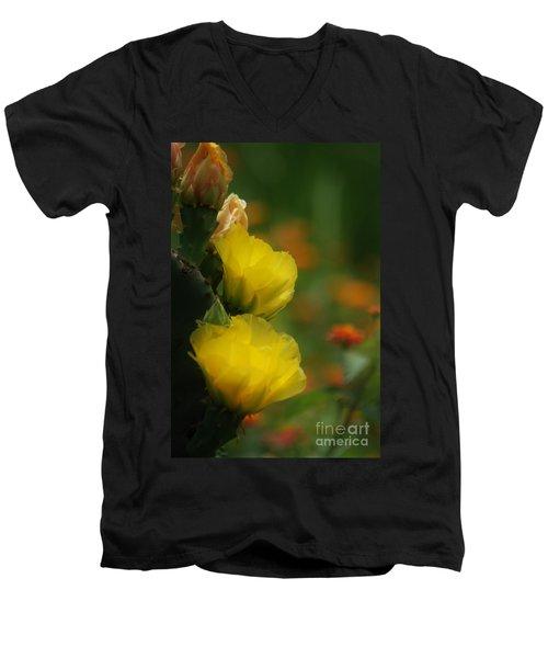 Yellow Cactus Flower Men's V-Neck T-Shirt