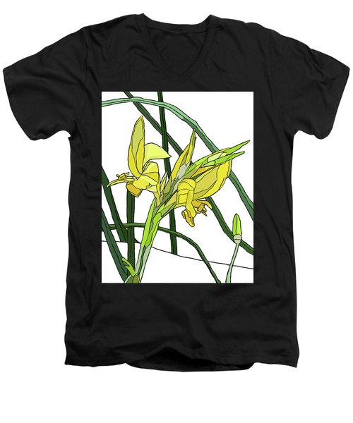 Yellow Canna Lilies Men's V-Neck T-Shirt by Jamie Downs