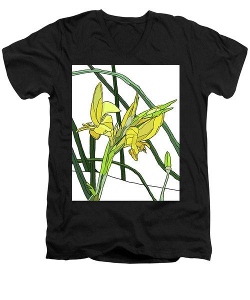 Yellow Canna Lilies Men's V-Neck T-Shirt