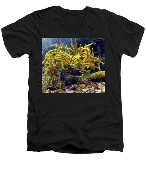 Men's V-Neck T-Shirt featuring the photograph Yellow Coral Dance by Francesca Mackenney