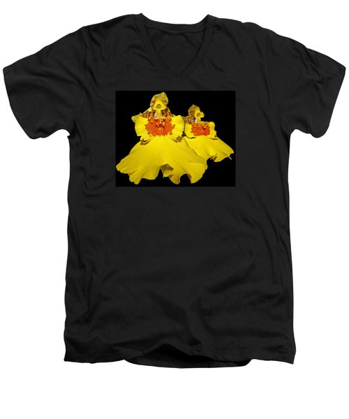 Men's V-Neck T-Shirt featuring the photograph Yellow Dresses by Judy Vincent