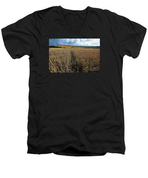 Men's V-Neck T-Shirt featuring the photograph Yellow Filds And Fluffy Clouds by Gary Bridger