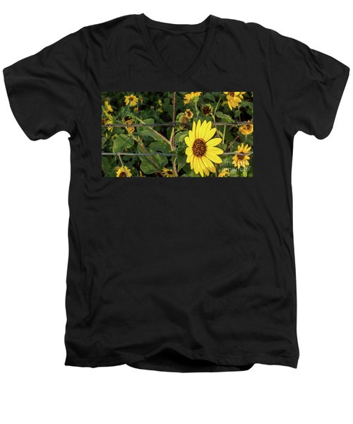 Yellow Flower Escaping From A Barb Wire Fence Men's V-Neck T-Shirt