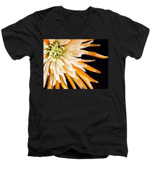 Yellow Flower On Black Men's V-Neck T-Shirt