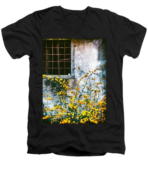 Men's V-Neck T-Shirt featuring the photograph Yellow Flowers And Window by Silvia Ganora