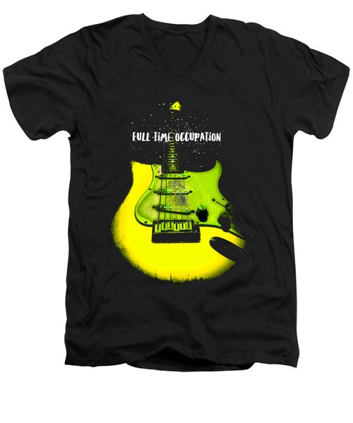 Men's V-Neck T-Shirt featuring the photograph Yellow Guitar Full Time Occupation by Guitar Wacky