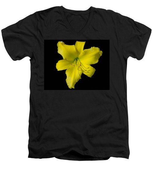Yellow Lily Flower Black Background Men's V-Neck T-Shirt by Bruce Pritchett