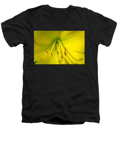 Yellow Lily Macro Men's V-Neck T-Shirt by Bruce Pritchett