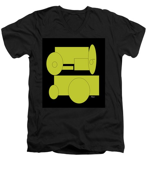 Yellow On Black Men's V-Neck T-Shirt by Cathy Harper