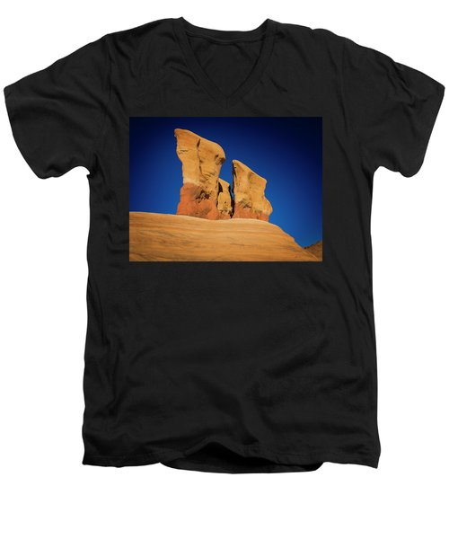 Men's V-Neck T-Shirt featuring the photograph Yellow Pillars by Edgars Erglis