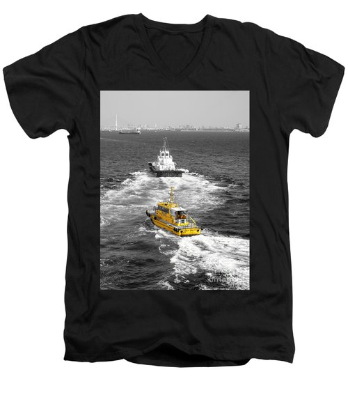 Yellow Pilot Yokohama Port Men's V-Neck T-Shirt