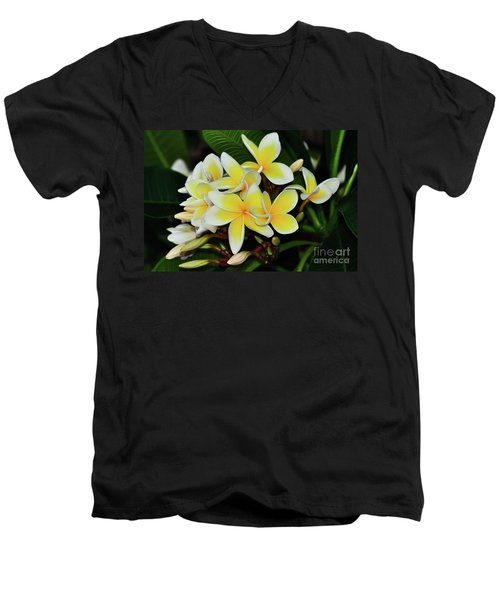 Men's V-Neck T-Shirt featuring the photograph Yellow Plumeria By Kaye Menner by Kaye Menner