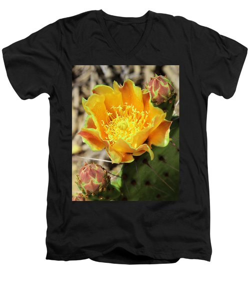 Yellow Prickly Pear Cactus Men's V-Neck T-Shirt