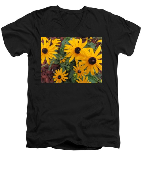 Yellow Stant Out Men's V-Neck T-Shirt