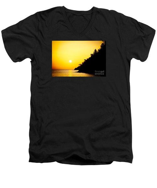 Yellow Sunrise Seascape And Sun Artmif  Men's V-Neck T-Shirt