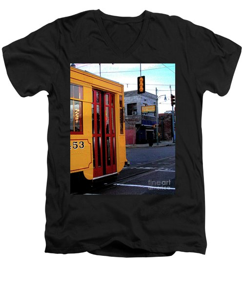 Yellow Trolley At Earnestine And Hazels Men's V-Neck T-Shirt by Lizi Beard-Ward