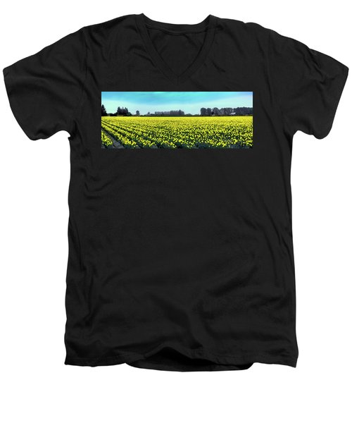 Yellow Tulip Fields Men's V-Neck T-Shirt by David Patterson
