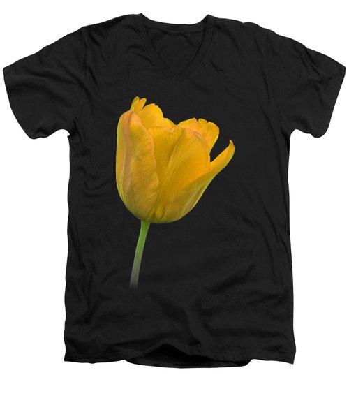 Yellow Tulip Open On Black Men's V-Neck T-Shirt by Gill Billington