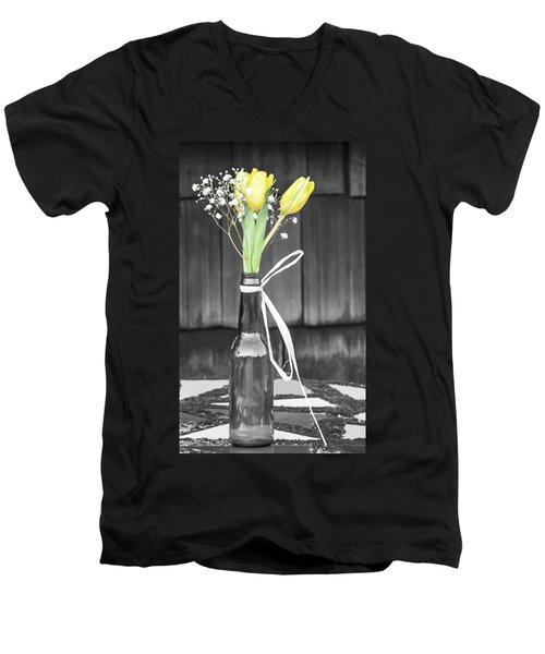 Men's V-Neck T-Shirt featuring the photograph Yellow Tulips In Glass Bottle by Terry DeLuco
