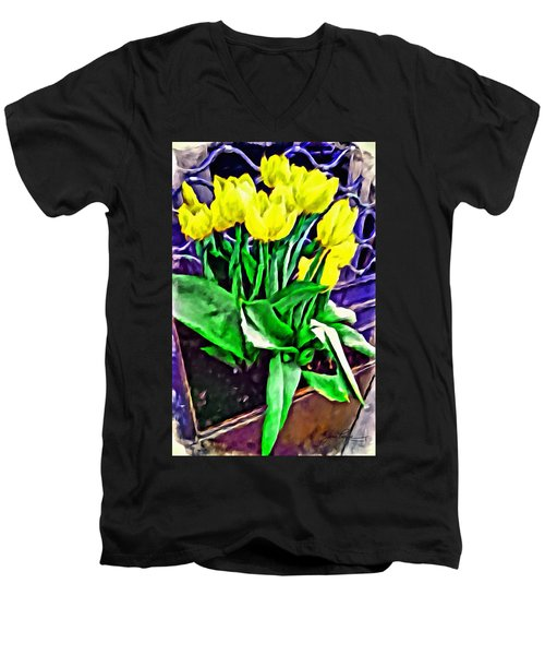 Men's V-Neck T-Shirt featuring the painting Yellow Tulips by Joan Reese