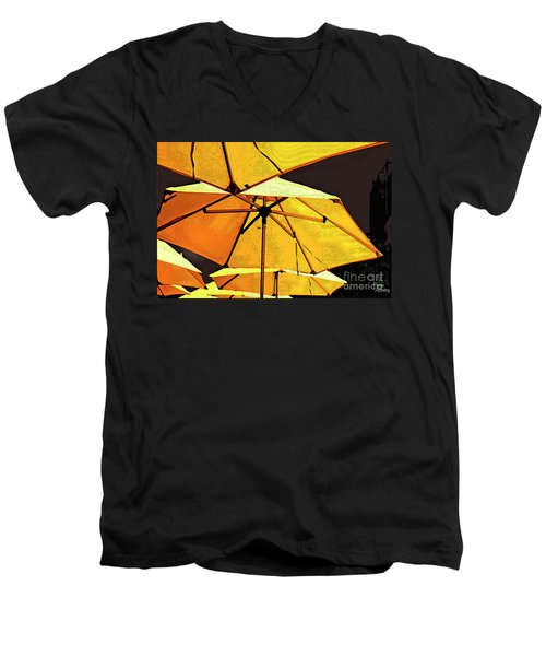 Yellow Umbrellas Men's V-Neck T-Shirt by Deborah Nakano