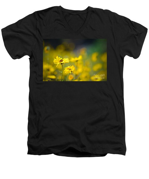 Yellow Wild Flowers Men's V-Neck T-Shirt by Kelly Wade