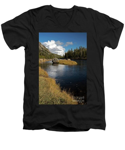 Yellowstone Nat'l Park Madison River Men's V-Neck T-Shirt by Cindy Murphy - NightVisions
