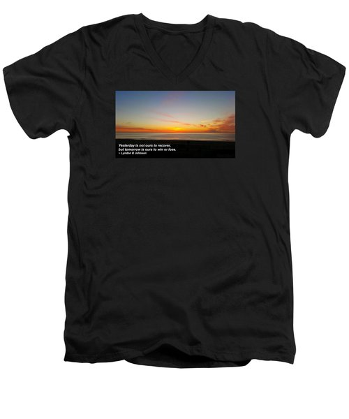 Men's V-Neck T-Shirt featuring the photograph Yesterday Is Not Ours... by Robert Banach