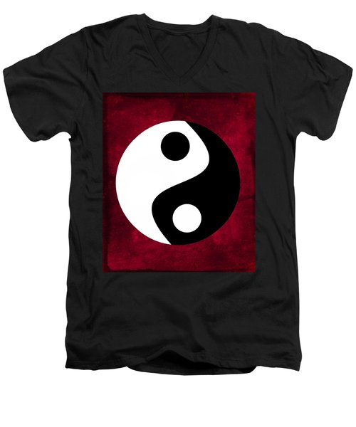 Yin And Yang - Dark Red Men's V-Neck T-Shirt