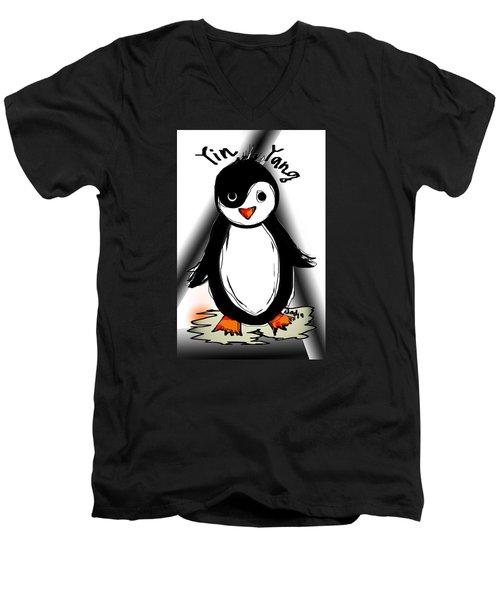 Yin Yang Penguin  Men's V-Neck T-Shirt by Sladjana Lazarevic