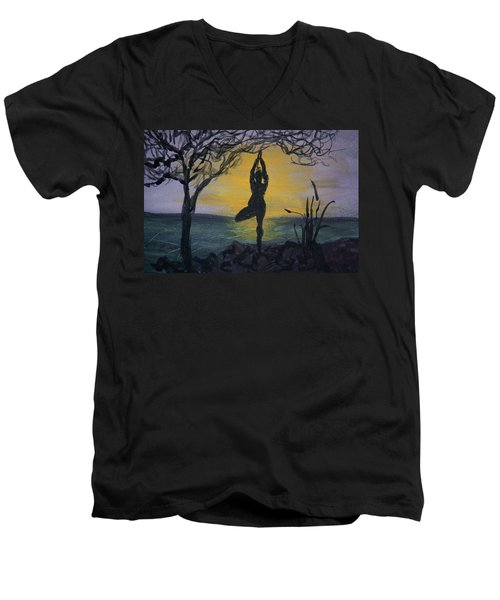 Yoga Tree Pose Men's V-Neck T-Shirt by Donna Walsh