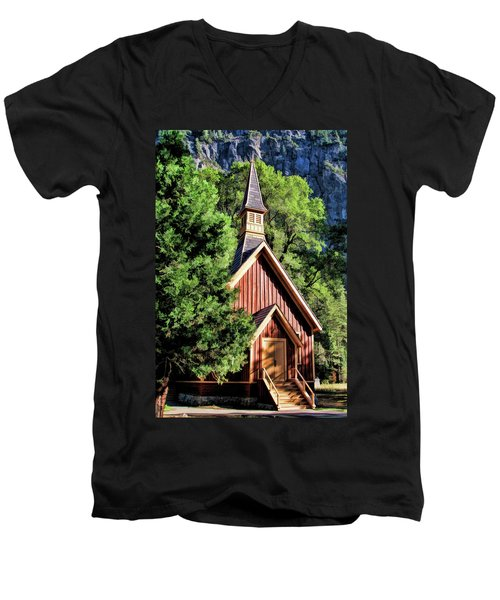 Yosemite National Park Valley Chapel Men's V-Neck T-Shirt