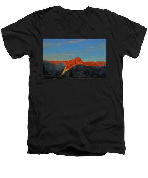 Men's V-Neck T-Shirt featuring the photograph Yosemite Summer Sunset Abstracted 1 by Walter Fahmy