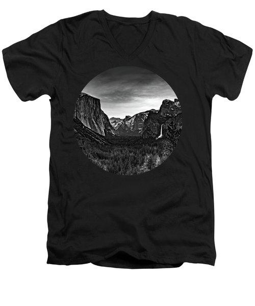 Yosemite Sunrise, Black And White Men's V-Neck T-Shirt by Adam Morsa