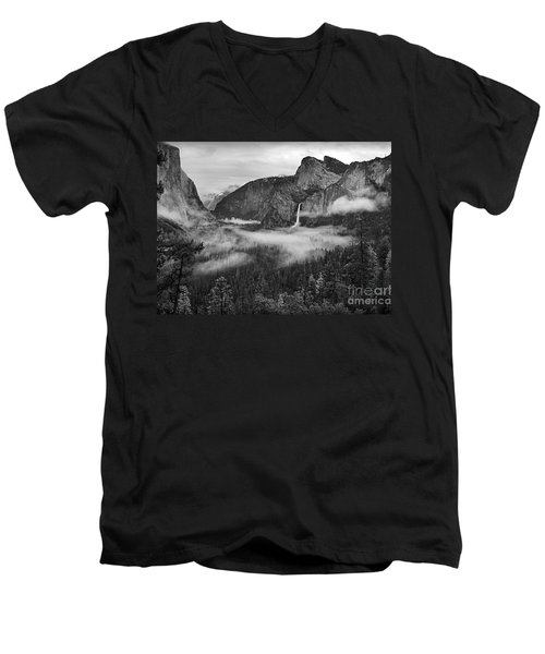 Men's V-Neck T-Shirt featuring the photograph Yosemite Wawona Cloudscape by Martin Konopacki