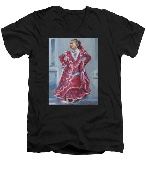 Young Dancer At Arneson Theater Men's V-Neck T-Shirt by Connie Schaertl