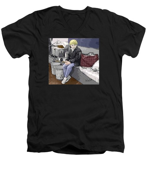 Men's V-Neck T-Shirt featuring the digital art Young Fisherman by Walter Chamberlain