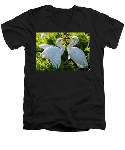Young Great Egrets Playing Men's V-Neck T-Shirt