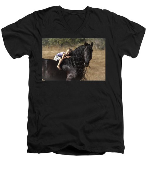 Young Rider Men's V-Neck T-Shirt by Wes and Dotty Weber