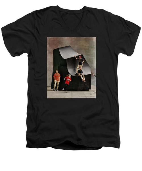 Young Skaters Around A Sculpture Men's V-Neck T-Shirt by Pedro L Gili