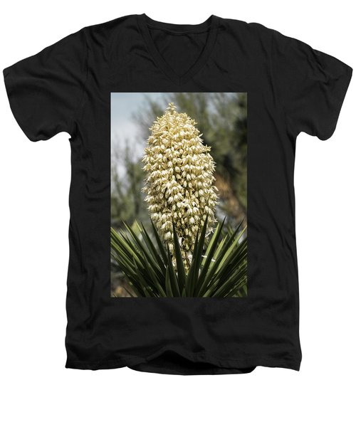 Men's V-Neck T-Shirt featuring the photograph Yucca Flowers In Bloom  by Saija Lehtonen