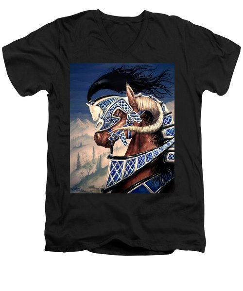 Men's V-Neck T-Shirt featuring the painting Yuellas The Bulvaen Horse by Curtiss Shaffer