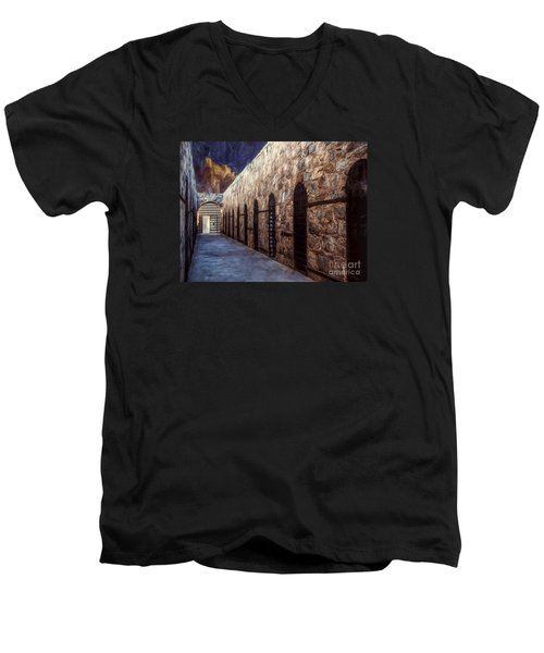 Yuma Prison Cellblock  ... Men's V-Neck T-Shirt by Chuck Caramella