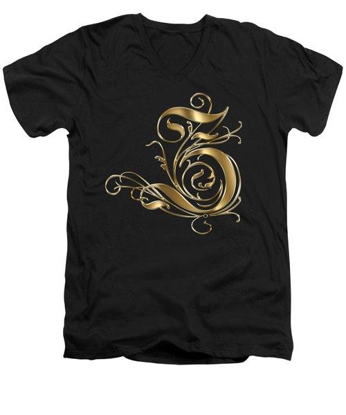 Z Golden Ornamental Letter Typography Men's V-Neck T-Shirt