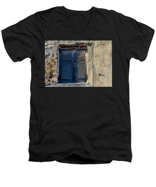 Zakynthos Town Window Men's V-Neck T-Shirt by Rainer Kersten
