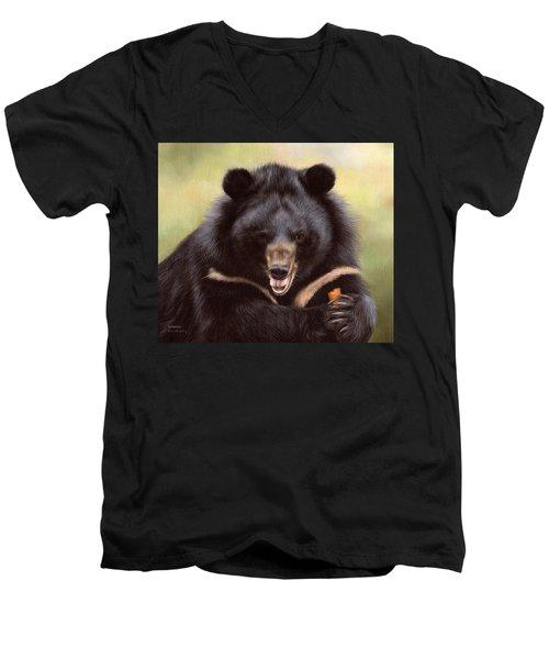 Zebedee Moon Bear - In Support Of Animals Asia Men's V-Neck T-Shirt