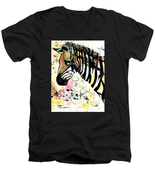 Men's V-Neck T-Shirt featuring the painting Zebra by Denise Tomasura